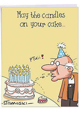 Big Happy Birthday Card - Humorous 'Gray Pubes' Funny Card - Old Guy Blows Dentures On His Birthday Cake - Free Shipping