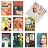 10 'Office Beauties Birthday Assortment' Cards - Funny Greeting Cards - Birthday Cards - Stationery Note Cards - Free Shipping