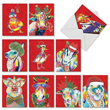 10 Assorted 'Christmas Funny Farm' Holiday Cards with Envelopes, Boxed Season's Greetings Cards, Stationery Featuring Colorful Painted Animals in Winter Attire