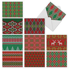 10 Assorted Christmas Note Cards Feature Sweater Patterns in Holiday Color Schemes - Free Shipping