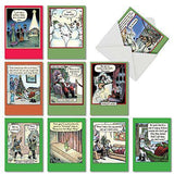 10 Assorted 'Bizarro by Piraro Holiday' Boxed Hilarious Christmas Cards - Featuring Funny Cartoon Comics For a Happy Holiday Season with Envelopes - Assortment Box of Merry Xmas Gifts