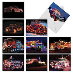 10 Assorted 'All Trucked Up' Christmas Cards - Greetings Cards - Free Shipping