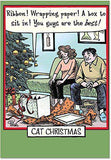 12 Boxed 'Cat Christmas' Holiday Cards with Envelopes, Cute Feline & Family Cartoon Christmas Cards, Happy Holidays with Kitty & Christmas Presents Cards