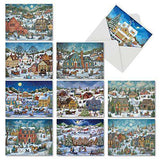 10 Assorted 'Old Town Christmas' Holiday Greeting Cards with Envelopes, Merry Christmas Note Cards Featuring Vintage Illustrations of Snowy Moonlit Town Scenes