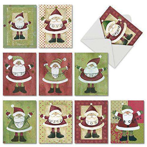 10 Assorted 'Santa Banners' Merry Christmas Cards - Greeting Cards with Painted Santa's and Joyful Messages - Free shipping