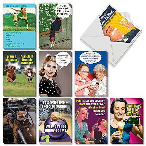 Assorted Box Of 20 Hysterical Birthday Cards Featuring The Absolute Be Unwelcome Greetings
