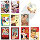 10 Assorted 'Red White and Funny Birthday Assortment' Note Cards - Funny Birthday Cards - Free Shipping