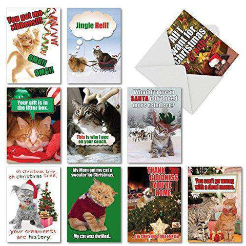 10 Assorted \u0027PetiGreet Cats Christmas\u0027 Boxed \u0026 Funny Cat Christmas Cards  w/Envelopes , Ten Different Merry Xmas Designs , Hilarious Variety Box for