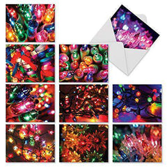 10 Assorted 'Light Brights' Christmas Cards with Envelopes Boxed and Season's Greetings Cards - Free Shipping