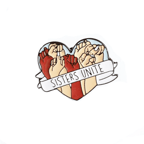 Free Sisters Unite Women Empowerment Heart Pink Enamel Pin Just Pay Shipping