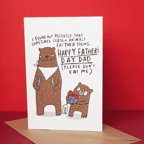Hungry Bear Dont Eat Me Dad Funny Fathers Day Card FREE SHIPPING
