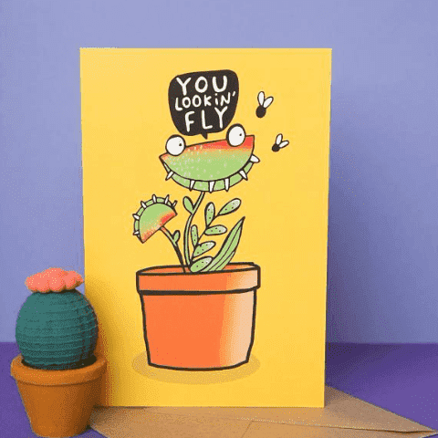 Venus Flytrap You Lookin Fly Funny Anniversary Card Valentines Day Card FREE SHIPPING