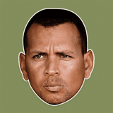 Angry Alex Rodriguez Mask - Perfect for Halloween, Costume Party Mask, Masquerades, Parties, Festivals, Concerts - Jumbo Size Waterproof Laminated Mask
