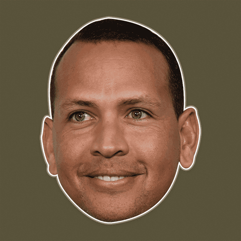 Excited Alex Rodriguez Mask - Perfect for Halloween, Costume Party Mask, Masquerades, Parties, Festivals, Concerts - Jumbo Size Waterproof Laminated Mask