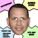Confused Alex Rodriguez Mask - Perfect for Halloween, Costume Party Mask, Masquerades, Parties, Festivals, Concerts - Jumbo Size Waterproof Laminated Mask