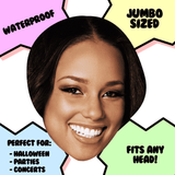 Happy Alicia Keys Mask - Perfect for Halloween, Costume Party Mask, Masquerades, Parties, Festivals, Concerts - Jumbo Size Waterproof Laminated Mask