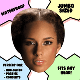 Neutral Alicia Keys Mask - Perfect for Halloween, Costume Party Mask, Masquerades, Parties, Festivals, Concerts - Jumbo Size Waterproof Laminated Mask