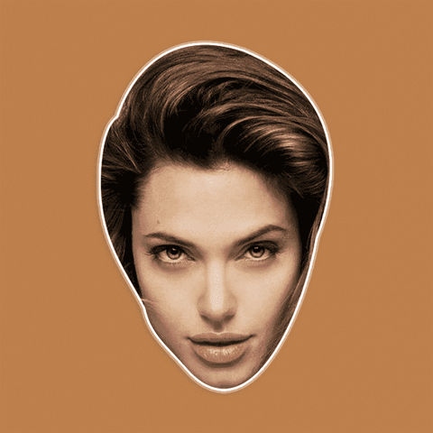 Excited Angelina Jolie Mask - Perfect for Halloween, Costume Party Mask, Masquerades, Parties, Festivals, Concerts - Jumbo Size Waterproof Laminated Mask