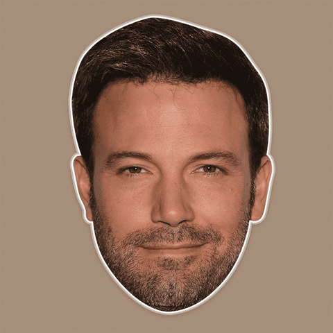 Excited Ben Affleck Mask - Perfect for Halloween, Costume Party Mask, Masquerades, Parties, Festivals, Concerts - Jumbo Size Waterproof Laminated Mask