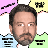 Bored Ben Affleck Mask - Perfect for Halloween, Costume Party Mask, Masquerades, Parties, Festivals, Concerts - Jumbo Size Waterproof Laminated Mask