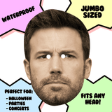 Confused Ben Affleck Mask - Perfect for Halloween, Costume Party Mask, Masquerades, Parties, Festivals, Concerts - Jumbo Size Waterproof Laminated Mask