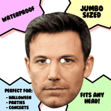 Cool Ben Affleck Mask - Perfect for Halloween, Costume Party Mask, Masquerades, Parties, Festivals, Concerts - Jumbo Size Waterproof Laminated Mask