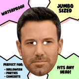 Sad Ben Affleck Mask - Perfect for Halloween, Costume Party Mask, Masquerades, Parties, Festivals, Concerts - Jumbo Size Waterproof Laminated Mask