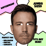 Serious Ben Affleck Mask - Perfect for Halloween, Costume Party Mask, Masquerades, Parties, Festivals, Concerts - Jumbo Size Waterproof Laminated Mask