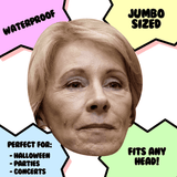 Confused Betsy DeVos Mask - Perfect for Halloween, Costume Party Mask, Masquerades, Parties, Festivals, Concerts - Jumbo Size Waterproof Laminated Mask
