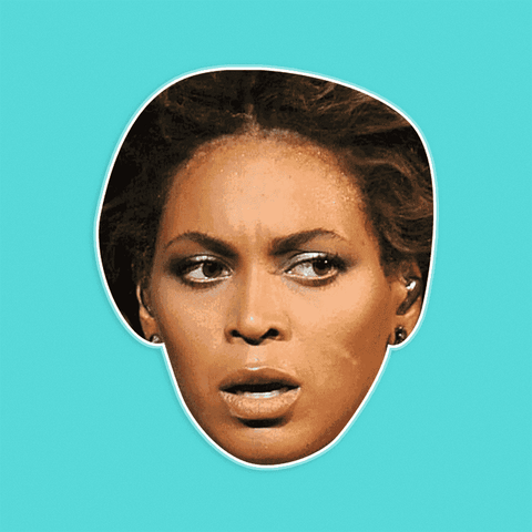 Confused Beyonce Mask - Perfect for Halloween, Costume Party Mask, Masquerades, Parties, Festivals, Concerts - Jumbo Size Waterproof Laminated Mask