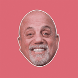 Excited Billy Joel Mask - Perfect for Halloween, Costume Party Mask, Masquerades, Parties, Festivals, Concerts - Jumbo Size Waterproof Laminated Mask