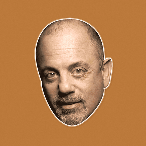 Serious Billy Joel Mask - Perfect for Halloween, Costume Party Mask, Masquerades, Parties, Festivals, Concerts - Jumbo Size Waterproof Laminated Mask