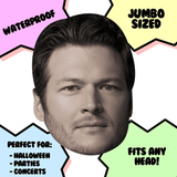 Bored Blake Shelton Mask - Perfect for Halloween, Costume Party Mask, Masquerades, Parties, Festivals, Concerts - Jumbo Size Waterproof Laminated Mask