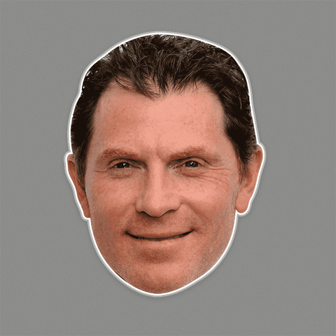 Silly Bobby Flay Mask - Perfect for Halloween, Costume Party Mask, Masquerades, Parties, Festivals, Concerts - Jumbo Size Waterproof Laminated Mask