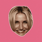 Excited Cameron Diaz Mask - Perfect for Halloween, Costume Party Mask, Masquerades, Parties, Festivals, Concerts - Jumbo Size Waterproof Laminated Mask