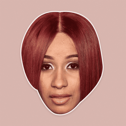 Bored Cardi B Mask - Perfect for Halloween, Costume Party Mask, Masquerades, Parties, Festivals, Concerts - Jumbo Size Waterproof Laminated Mask