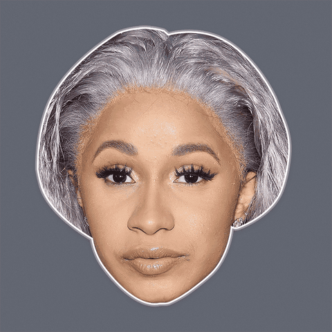 Confused Cardi B Mask - Perfect for Halloween, Costume Party Mask, Masquerades, Parties, Festivals, Concerts - Jumbo Size Waterproof Laminated Mask
