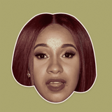 Surprised Cardi B Mask - Perfect for Halloween, Costume Party Mask, Masquerades, Parties, Festivals, Concerts - Jumbo Size Waterproof Laminated Mask