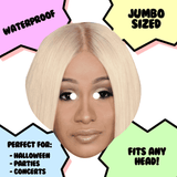 Disgusted Cardi B Mask - Perfect for Halloween, Costume Party Mask, Masquerades, Parties, Festivals, Concerts - Jumbo Size Waterproof Laminated Mask
