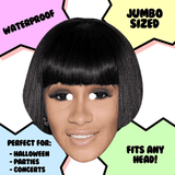 Excited Cardi B Mask - Perfect for Halloween, Costume Party Mask, Masquerades, Parties, Festivals, Concerts - Jumbo Size Waterproof Laminated Mask