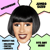 Happy Cardi B Mask - Perfect for Halloween, Costume Party Mask, Masquerades, Parties, Festivals, Concerts - Jumbo Size Waterproof Laminated Mask