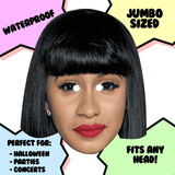 Neutral Cardi B Mask - Perfect for Halloween, Costume Party Mask, Masquerades, Parties, Festivals, Concerts - Jumbo Size Waterproof Laminated Mask