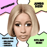 Sad Cardi B Mask - Perfect for Halloween, Costume Party Mask, Masquerades, Parties, Festivals, Concerts - Jumbo Size Waterproof Laminated Mask
