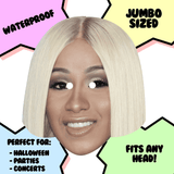 Silly Cardi B Mask - Perfect for Halloween, Costume Party Mask, Masquerades, Parties, Festivals, Concerts - Jumbo Size Waterproof Laminated Mask