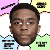 Confused Chadwick Boseman Mask - Perfect for Halloween, Costume Party Mask, Masquerades, Parties, Festivals, Concerts - Jumbo Size Waterproof Laminated Mask