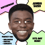 Excited Chadwick Boseman Mask - Perfect for Halloween, Costume Party Mask, Masquerades, Parties, Festivals, Concerts - Jumbo Size Waterproof Laminated Mask