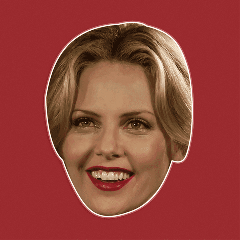 Excited Charlize Theron Mask - Perfect for Halloween, Costume Party Mask, Masquerades, Parties, Festivals, Concerts - Jumbo Size Waterproof Laminated Mask