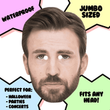Bored Chris Evans Mask - Perfect for Halloween, Costume Party Mask, Masquerades, Parties, Festivals, Concerts - Jumbo Size Waterproof Laminated Mask