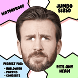 Confused Chris Evans Mask - Perfect for Halloween, Costume Party Mask, Masquerades, Parties, Festivals, Concerts - Jumbo Size Waterproof Laminated Mask
