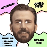 Excited Chris Evans Mask - Perfect for Halloween, Costume Party Mask, Masquerades, Parties, Festivals, Concerts - Jumbo Size Waterproof Laminated Mask